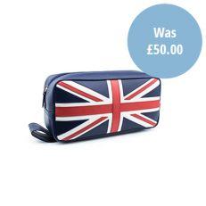 Union Jack luxury leather washbag