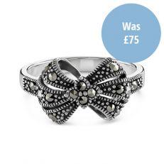 Swarovski marcasite silver bow ring