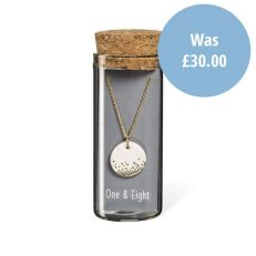 Gold mist ceramic pendant necklace in packaging
