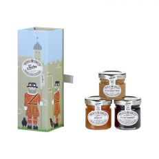 Wilkin & Sons Ltd Tiptree gift set in Beefeater design tin - Trio of Salted caramel spread, Apricot jam and Blackcurrant jam