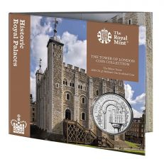 The Royal Mint Tower of London 'The White Tower' UK £5 brilliant uncirculated 2020 coin front of pack with coin showing