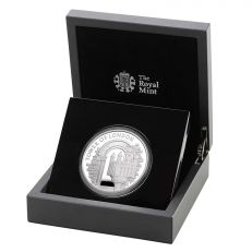 The Royal Mint Tower of London 'The White Tower' UK £5 Silver Proof 2020 coin propped up in case