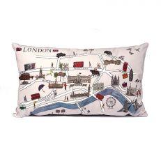 London illustrated map velour cushion