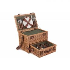4 person green tweed drawer picnic hamper