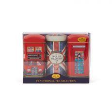 London Bus, Union Jack, Telephone Box Tea Tin Gift Set