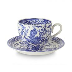 Blue Regal Peacock earthenware tea cup and saucer