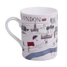 London illustrated map bone china mug