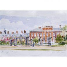 Kensington Palace watercolour tea towel unfolded