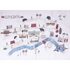 Map tea towel flat view