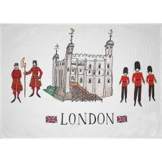 Tower of London illustrated icons tea towel