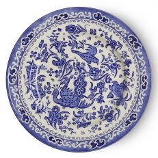 Blue Regal Peacock earthenware plate 17cm