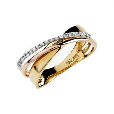 9ct gold crossover diamond ring