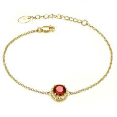 18ct Gold plated garnet bracelet