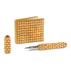 Small gold pearl notebook and pen