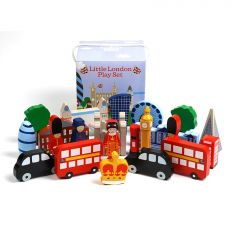 Traditional children's wooden Little London 22 piece play set unpacked