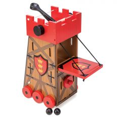 Children's wooden siege tower toy