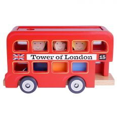 Traditional children's wooden double decker Tower of London red bus toy