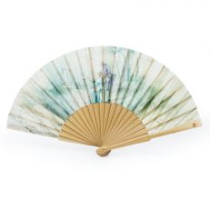 Georgian painting green luxury folding hand fan