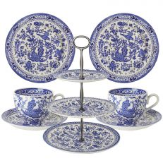 Blue regal peacock afternoon tea set in full
