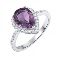 H.Azeem Amethyst pear drop ring
