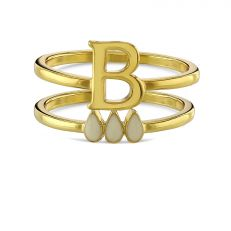 Anne Boleyn 'B' initial stacking ring