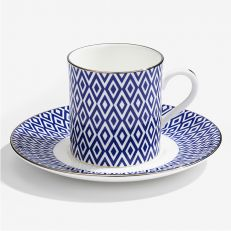 The Aragon Collection midnight blue fine bone china coffee cup and saucer