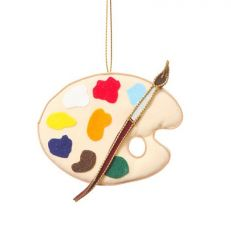 Artist's palette hanging Christmas tree decoration