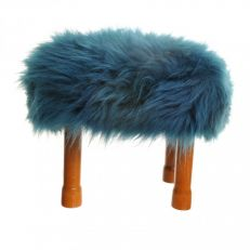Baa Stool luxury sheepskin teal footstool