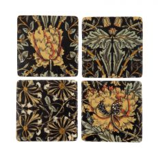 Black floral ceramic kitchen coasters set of 4