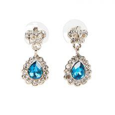 Blue teardrop crown earrings