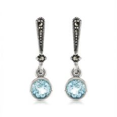 Blue topaz and marcasite drop earrings - sterling silver
