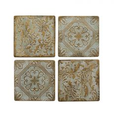 Bronze patterned ceramic tile drinks coasters - set of four