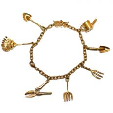 Gardening charm bracelet - vintage brass jewellery