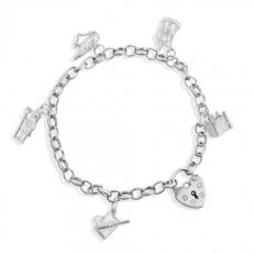 Silver traditional heart lock charm bracelet