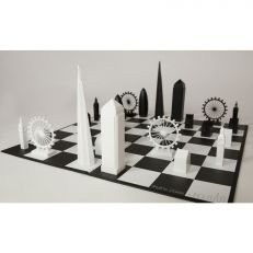 London skyline chess set monochrome