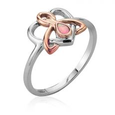 Clogau Dwynwen opal. silver and rose gold ring set