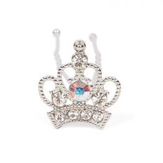 Silver crown hairpin with crystals