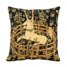 Flemish Tapestries Unicorn Tapestries - captive unicorn tapestry cushion