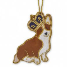 St Nicolas Queen's Royal Corgi with purple crown Christmas tree decoration