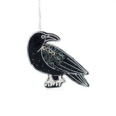 Hand embroidered luxury raven Christmas decoration - Gothic home