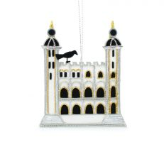 White Tower and Tower of London raven hand embroidered Christmas decoration