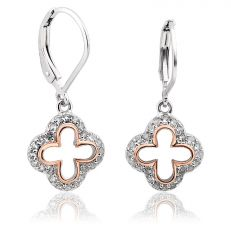 Clogau Tudor Court white topaz cross design drop earrings