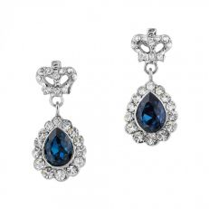 Blue teardrop crown earrings