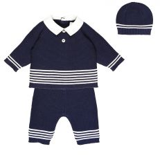 Navy two piece knitted sailor outfit with hat
