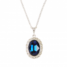 Faux sapphire pendant inspired by Princess Diana's style