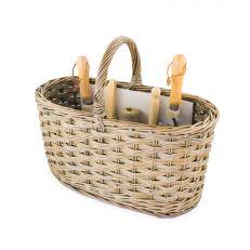 Wicker garden basket with tools