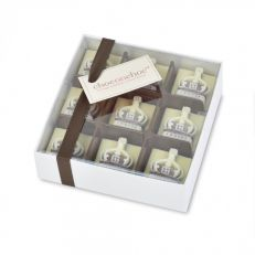 Handmade Belgian crown chocolate box - 9 mini dark and white chocolate crowns