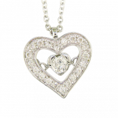 HEART PENDANT 9CT WHITE GOLD DIAMOND