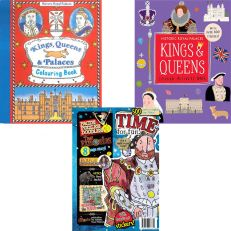 History activity books, including Kings & Queens sticker activity book, Time for fun activity book, Kings, Queens and Palaces colouring books