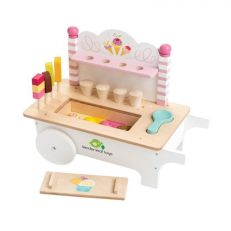 Traditional children's wooden ice cream cart play set